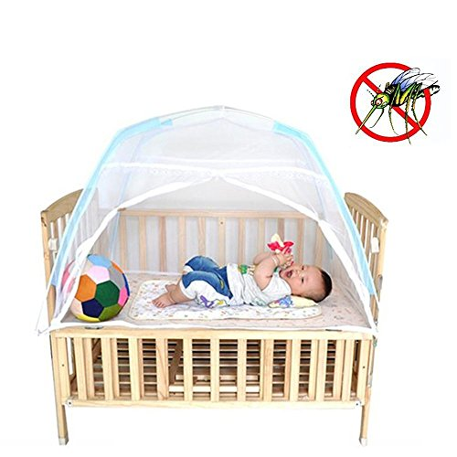 Baby Crib Tent for Bed, Portable Mosquito Net for Toddler Travel Play Canopy on Mattress Cover, Mesh Playpen Safety Kids from Sleep Bumper Nursery Netting on Cot Bedding can be Folding with Pack White from COFFLED