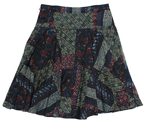 Lauren Ralph Lauren Women's Patchwork Print A-Line Silk Skirt 8 Multi Blue