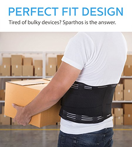 Back Support Sparthos Back Pain, Herniated Disc, Sciatica, Scoliosis and more! – with Pad Adjustable Support – Lower Back Brace