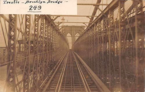 Brooklyn New York Bridge Trestle Trolley Railroad Real Photo Postcard - Bridges Trestle