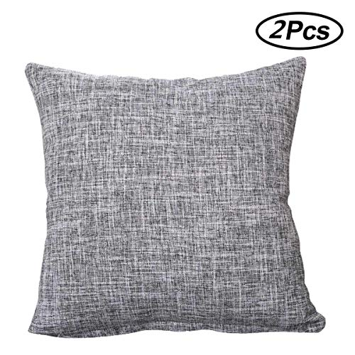 ALHXF 2 Pack Burlap Linen Throw Pillow Cover 16