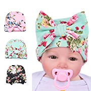 BQUBO Newborn Hospital Hat Infant Baby Hat Cap with Big Bow Soft Cute Knot Nursery Beanie, 3 Pack: Pink, Green, Black / 0-3 Month, One Size