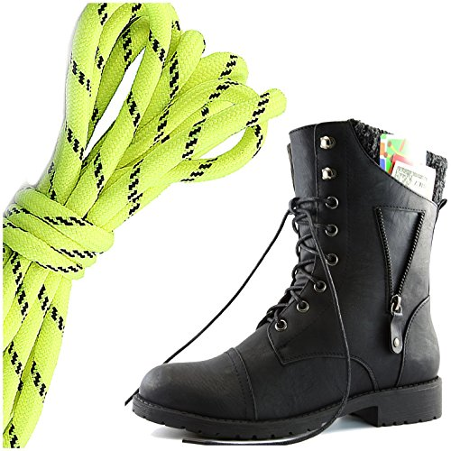 DailyShoes Womens Military Lace Up Buckle Combat Boots Zipper Sweater Ankle High Exclusive Credit Card Pocket, Neon Yellow Black Black Pu