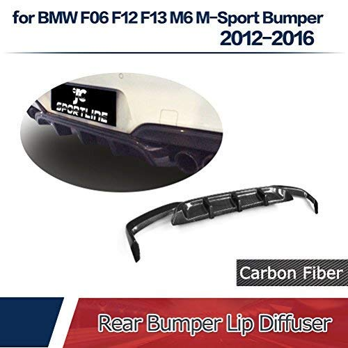 jcsportline fits BMW 6 Series F06 F12 F13 M6 640i 650i M Sport Coupe Convertible 2-Door 2012-2018 Carbon Fiber Rear Bumper Lip Diffuser ()