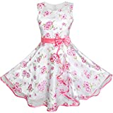 3 Layers Girls Dress Pink Flower Wave Pageant Wedding Size 7-8 Years