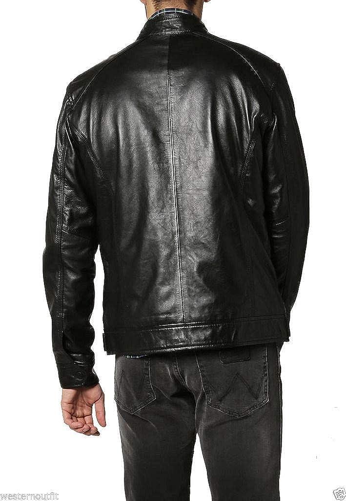 brandMe Mens Genuine Leather Pure Lambskin Biker Jacket MM154