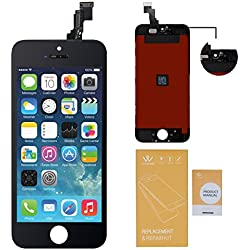 WEELPOWER LCD Touch Screen Digitizer Glass Replacement Assembly for iPhone 5C with Repair Tool(Black)