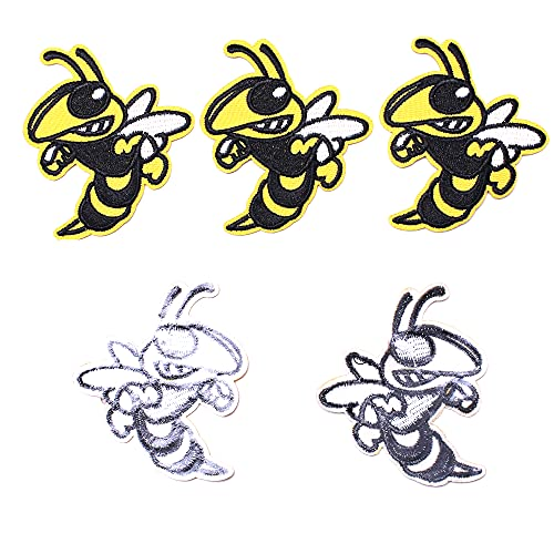 AXEN 5PCS Hornet Angry Bee Patches, Embroidered Iron on Patches DIY Accessories, Cute Sewing Applique for Jackets, Hats, Backpacks, Jeans