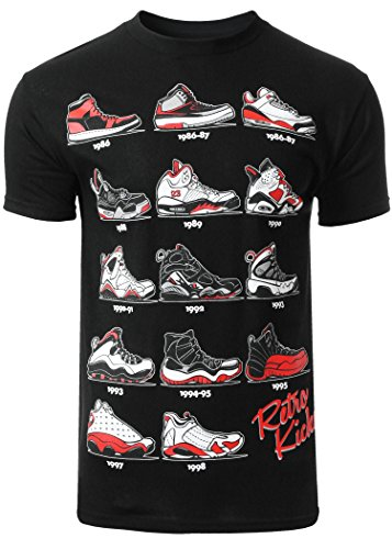 Mens Hipster The Retro Kicks Cute Print T - Shirt, Black, Large