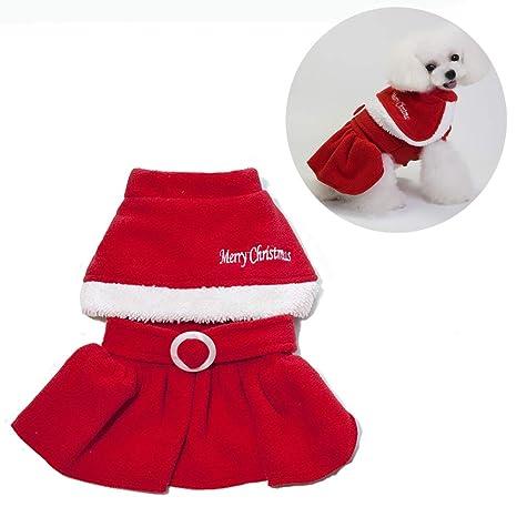 Vestiti Di Natale Per Cani.Jlcyyss Abbigliamento Per Animali Natalizi Vestiti Per Cani Gatti Di Natale Costume Per Babbo Natale Con Cappuccio Cappotto Di Velluto Tuta Piccolo