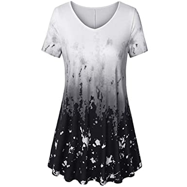 7db2944a69fb0e Aniywn Women Plus Size Tie Dye Short Sleeve T-Shirt V-Neck Flare Pleated