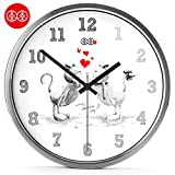Imoerjia Art Wall Clock Wall Table Love Marriage Creative Silence Clock Little Rock 8 Inches (20 cm) in Diameter, Silver Aluminum Alloy Box
