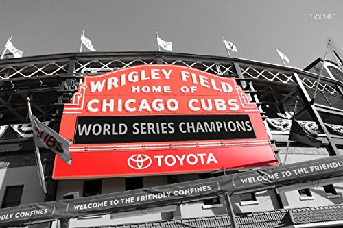 chicago-cubs-print-black-and-white-photo-with-red-sign-wrigley-field-picture-paper-print-only-with-f