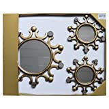 Set of 3 Antique Gold Decorative Wall Mount Large 15'' Mirror and Small 10'' Mirror Set.