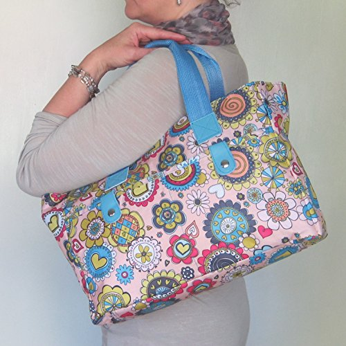 cleanable and wipe Bag Knitting strong Very Bag Blue Silver Floral Beach handbag Floral YpaqF68w