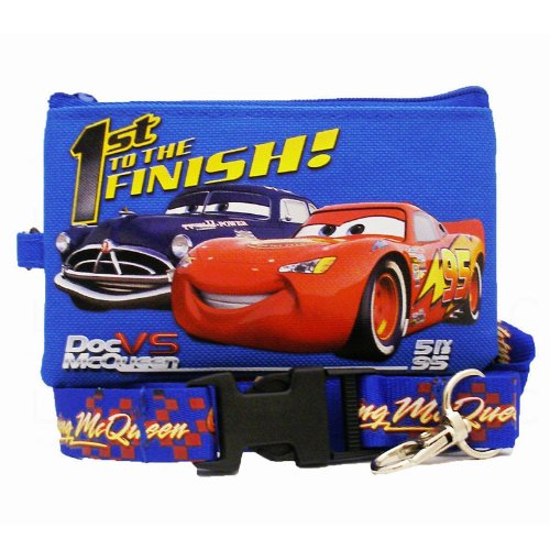 Officially Licensed Disney Pixar Cars Zipper Pouch Wallet and Quick Release Key Clip Lanyard - Lightning McQueen and Doc -