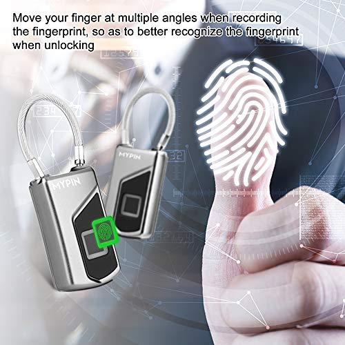 Fingerprint Padlock,Smart Waterproof Fingerprint Lock Ideal for Gym, Door, Luggage, Suitcase, Backpack, Bike, Office