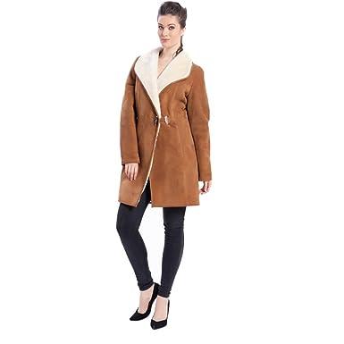76498aa06e0 Denny Dora Womens Sheepskin Fur Leather Jacket Fur Cut Collar Female Winter  Coat Horn Buckle Slim Brown Clothing at Amazon Women s Coats Shop