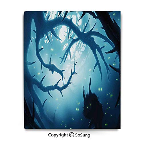 Halloween Horror Nights 4 Map (Canvas Prints Oil Painting Animal with Burning Eyes in Dark Forest at Night Horror Halloween Illustration Wall Art for Living Room Decoration (12 x 18 inch, Framed) Navy)