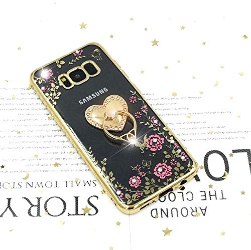 Galaxy S8 Case for Women, Girls Cute Gold Phone Cover with Kickstand Ring Stand Holder Slim Girly Luxury Diamond Sparkle Bling Glitter Flowers Case for Samsung Galaxy S8 - Heart Shape
