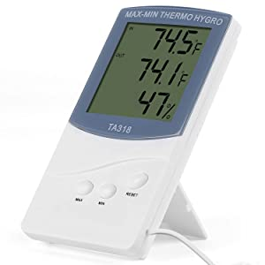 Hygrometer Thermometer 2-in-1,Moclever Indoor/Outdoor Humidity Monitor Temperature Humidity Gauge Humidity Meter with LCD Display &°C/°F Switch,Records Min/Max Temperature for Home Office Babyroom
