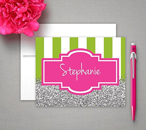 Personalized Note Cards, Silver glitter Stationery - Set of 12 Glitter Stationery Set