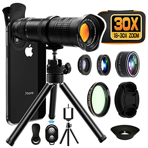 Moikin 18X-30X Cell Phone Camera Lens, 4 in 1 Photography Lens Kit - 18X-30X Zoom Telephoto Lens - Remote Shutter, Wide Angle, Fisheye & Macro Lens for iPhone, Samsung & Android Smartphones