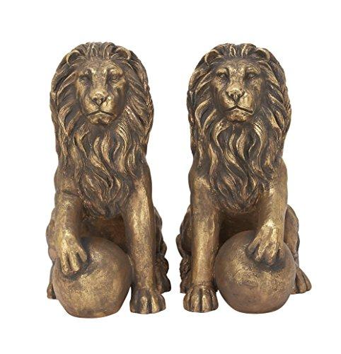 Benzara 77157 Polystone Lions Pair 24''W, 32''H, Gold Animal Statue by Benzara (Image #7)