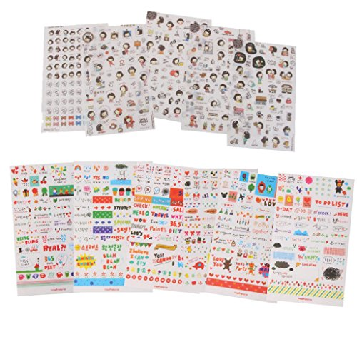 Jili Online 11 Sheets Kawaii Cartoon Transparent Stickers For Scrapbooking Diary Planner Album Mobile Decoration Sticker