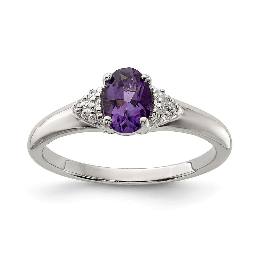 925 Sterling Silver Diamond Purple Amethyst Band Ring Gemstone Fine Jewelry For Women Gift Set