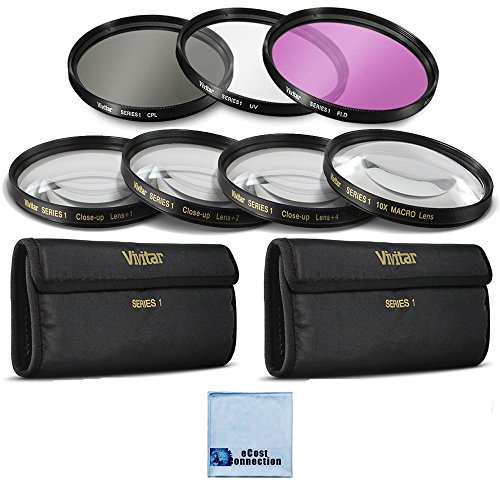 Vivitar 62mm High resolution Pro series Multi Coated HD 3 Pc. Digital Filter Set + 62mm Pro Series High Quality 4pc HD Macro Close Up Filter Set +1 +2 +4 +10 + eCost Microfiber Cleaning Cloth ()
