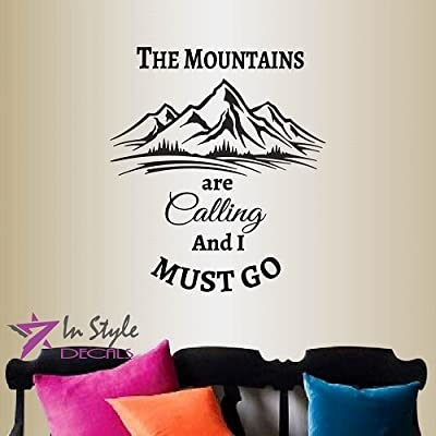 Wall Vinyl Decal Home Decor Art Sticker The Mountains Are Calling And I Must Go Quore Phrase Mountain Extreme Travel Bedroom Living Room Removable Stylish Mural Unique Design 2197