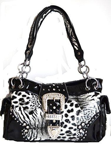 western black white leopard animal rhinestone belt buckle purse (Black)