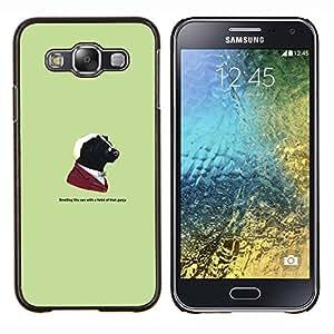 KLONGSHOP // Cubierta de piel con cierre a presión Shell trasero duro de goma Protección Caso - Gangster Skunk animal divertida - Samsung Galaxy E5 E500 //