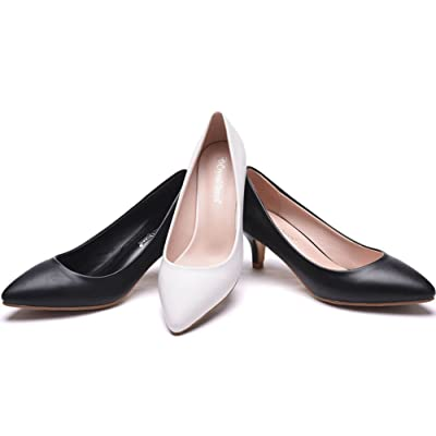 5CM Thick Heel Shoes Low Kitten Heel Pumps for Women Black Pointed Toe Dress Shoes White 5CM Heels
