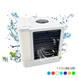 Personal Space Air Cooler,Portable Air Conditioner Fan Mini USB Cooler Purifies Humidifier with 7 Colors LED Lights for Home Outdoor
