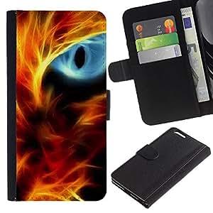 """Apple (5.5 inches!!!) iPhone 6+ Plus , la tarjeta de Crédito Slots PU Funda de cuero Monedero caso cubierta de piel ("""" Fire Cat Eye Red Flames Neon Light Black"""")"""