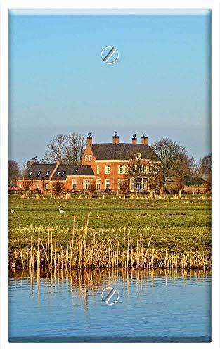 Single-Gang Blank Wall Plate Cover - Manor Estate Field Waterway Farmhouse Landscape