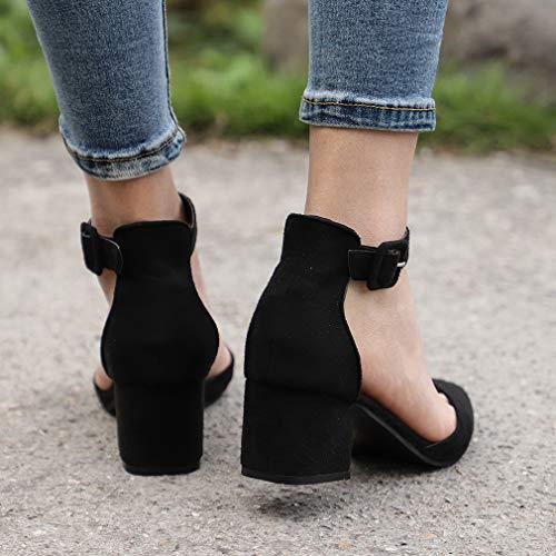 Hibote Chaussures Talons Boutonnées Noir Pour Compensés À Avec Femmes 7fw7q6C
