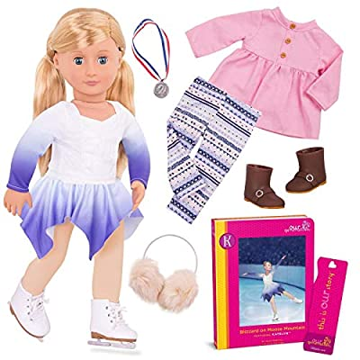 Our Generation Katelyn Deluxe 18 Inch Doll with Book and Skating Outfit: Toys & Games