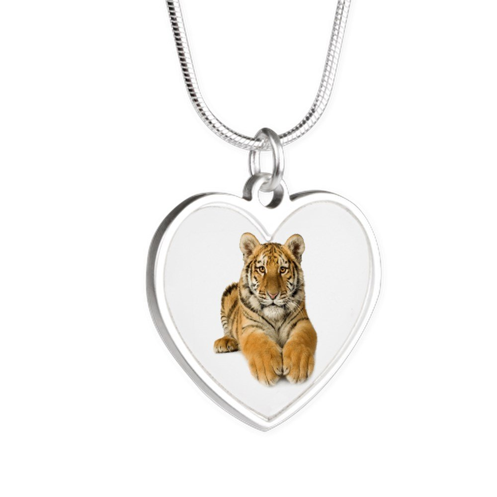 Royal Lion Silver Heart Necklace Bengal Tiger Youth