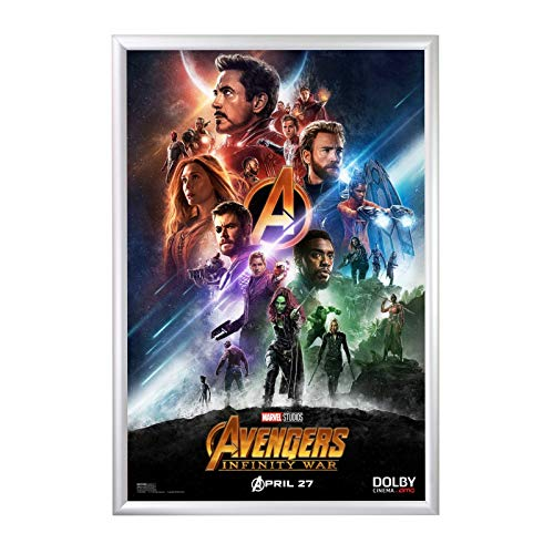 Overlay White Clear (SnapeZo Movie Poster Frame 24x36 Inches, Silver 1.2