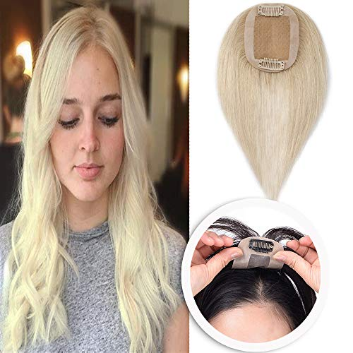 Platinum 1 Light - 14 Inch Human Hair Toppers for Women Thin Clip in Hair Top Hairpiece Silk Base Natural Toupee #60 Platinum Blonde