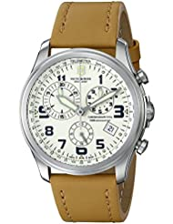 Victorinox Mens 241579 Infantry Stainless Steel Watch with Beige Leather Band