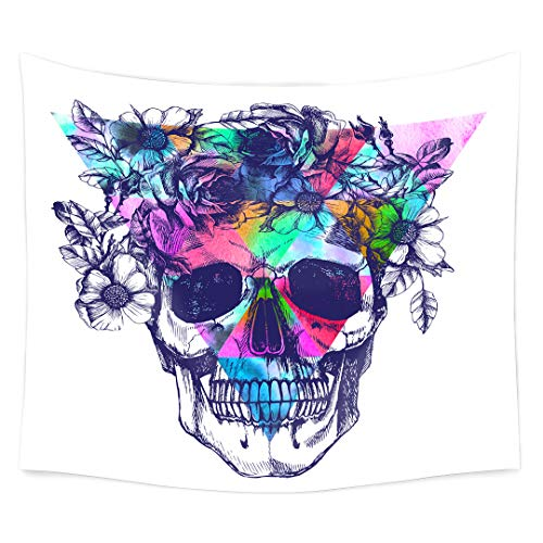 QCWN Skulls Decor Tapestry Wall Tapestry Halloween Decor Flowers and Skull Design Skeleton Art Wall Hanging for Bedroom Living Room Dorm.Multi 78x59Inch