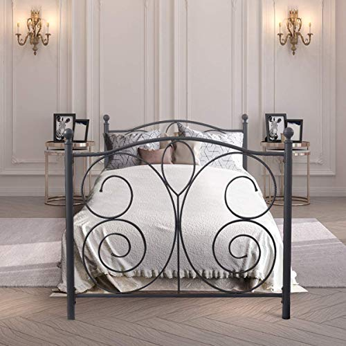 Giantex Black Metal Bed Frame, Iron Vintage Style Mattress Foundation, Curved Steel Headboard Footboard and Sturdy Metal Slats, Box Spring Replacement, Platform Guest Bed for Kids Adults (Twin)
