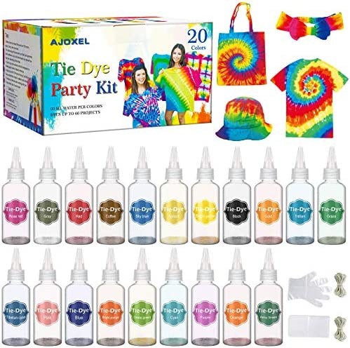 AJOXEL Tintes para Ropa, 20 Coloresx60ml Pinturas Textiles Permanentes Tie Dye Kit, Pigmentos, Guantes, Delantal, Gomas, Mantel Kit DIY Manualidas ...