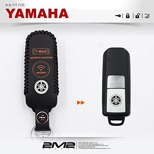 Leather key fob holder case chain cover FIT For 2017 YAMAHA T-MAX TMAX (002)