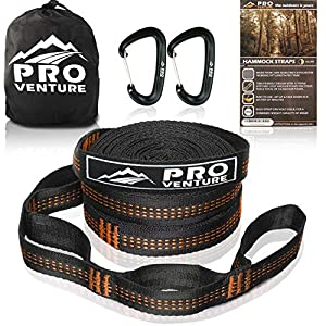 Pro Hammock Tree Straps with CARABINERS – 11 Feet, Adjustable 44 Loops, 400LB Rated (1200LB Tested), Easy Set up, Heavy Duty But Lightweight.