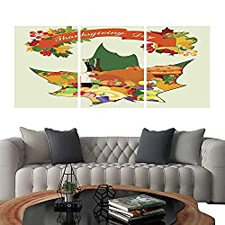 UHOO Modern Canvas Painting Wall Art Thanksgiving Card with Maple Leaf. Triple Art Stickers 20x28x3pcs